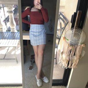 H&M grey zip up plaid skirt size 8